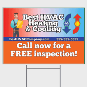Hot and Cold HVAC Yard Sign - Inspection