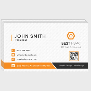 Orange HVAC Business Cards