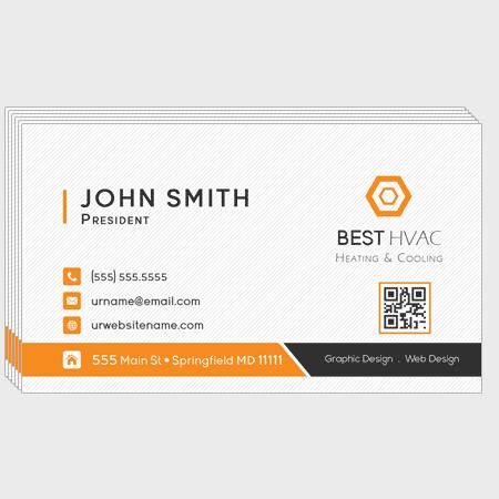 Orange HVAC Business Cards